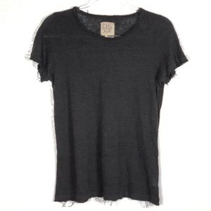 Chaser Charcoal gray distressed linen tee sz. M